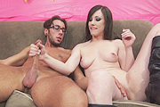 Jennifer White Giving a Handjob on Couch