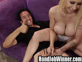 Guy wins handjob